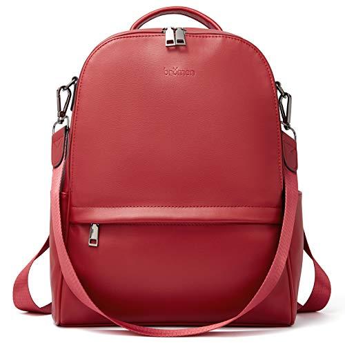 BROMEN Backpack Purse for Women Leather Anti-theft Travel Backpack Fashion College Shoulder Handbag Red