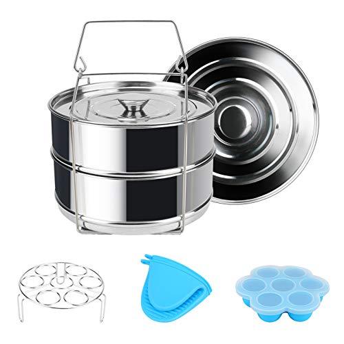 Instant Pot Accessoires Panier vapeur Rack Lot avec support pour œufs et morsures d'œufs, Achort Oeuf cuiseur vapeur Rack, insert Cuit Vapeur Compatible avec Instant Pot de poêles Instant 5 6 8qt