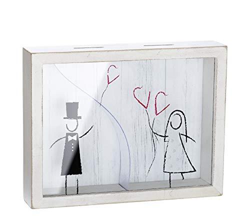 GILDE grappige spaarpot bruiloft spaarpot huwelijk kassa van hout/glas 22x17 cm