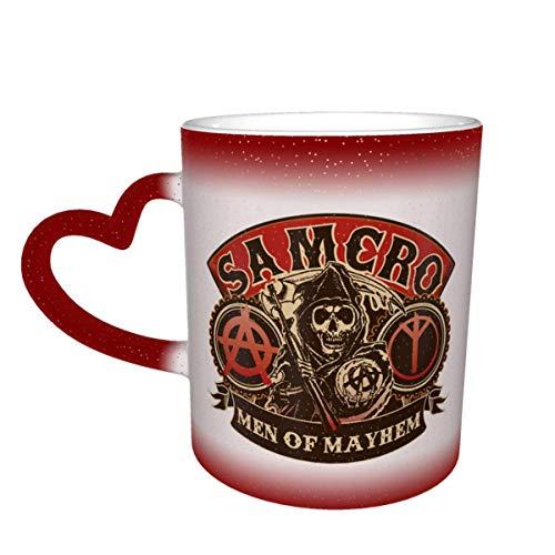 Hdadwy So_ns Of An-arc_hy Taza que cambia de color Gran regalo de Navidad Taza de café Diseño Taza de cerámica sensible al calor Taza que cambia de color en el cielo