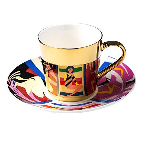 taza de porcelana Tazas De Café Con Espejo Reflexión Especular Tazas Y Platillos De Té De Cerámica Enviar Cuchara Vajilla Creativa