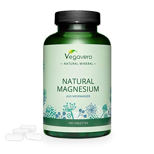 Natural Magnesium Tablets Vegavero | Aquamin  MG – from Irish Seawater | 180 Tablets | *Muscle Function + Tiredness and Fatigue | Not Synthetic - High Bioavailability | Vegan