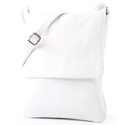 modamoda de - T34 - ital Damen Umhängetasche Schultertasche Klein, Farbe:Weiß