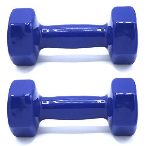 Mancuernas con Revestimiento de Vinilo, Pack DE 2. Color Azul Peso de 1 Kilo. Gimnasio en casa,...