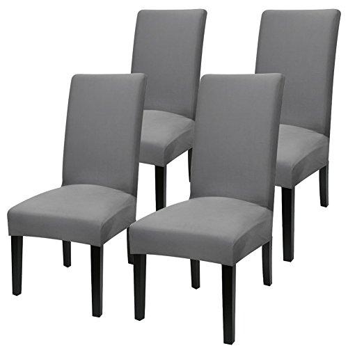 YISUN Universal Stretch Stuhlhussen 4er 6er Set Stuhlbezug für Stuhl Dunkelgrau