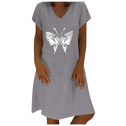 Damen V-Ausschnitt Strandkleider, Frauen Elegant Kurzarm Schmetterlingsdruck A-Linie Freizeitkleid Minikleid Casual Sommerkleid Knielang Kleid