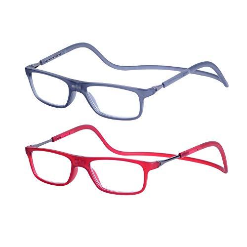 2-Pack Gafas de Lectura Magnéticas Plegables para Hombre y Mujer +2.5 (60-64 años) Presbicia Vista Montura Regulable Colgar del Cuello y Cierre con Imán, Transparente Gris + Transparente Rojo