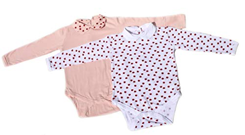 Ventilkappenkönig Baby Bio Baumwolle Body Pyjama Strampler Kleinkind Neugeborene 1er 2er 3er Sets für 0-24 Monate (2er Body Marienkäfer, 62-68)