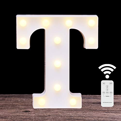 LED Marquee Letter Light 26 Alphabet Light Up Name Sign Remote Control Letter Lamp for Wedding Birthday Party Battery Powered Christmas Lamp Home Bar Decoration(Letter T-Remote Control)