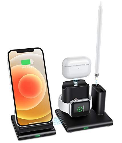 OMOTON 4-i-1 trådlös laddare, kompatibel med Apple Watch AirPods laddningsstation för pennor, snabbladdning för iPhone 12/12 Pro/12 Pro Max/iPhone SE 2020/XR/XS/11/Apple Watch/AirPods