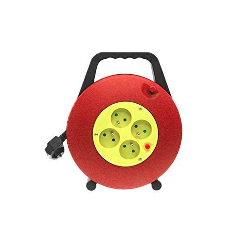 LOV_239055 - Enrollador eléctrico con 4 tomas con protección contra sobrecalentamiento y cable alargador de 10 m, color rojo y amarillo
