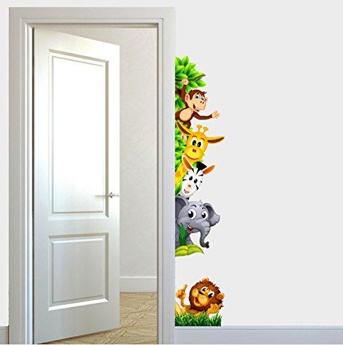 Adesivi Murali Bambini Animali della Savana Che Si affacciano per Porte Cameretta Fantasy Animaletti e Foresta Adesivo Murale Disegni Decorativi Wall Stickers Decorativo Decorazione Cameretta Nursery