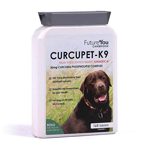 FutureYou Large Curcupet-K9 Turmeric for Dogs - 168 Tablets - Highly Absorbable Joint Health Supplement with Patented Curcumin Formulation - Developed Cambridge, UK