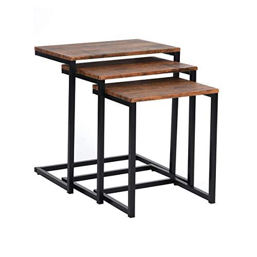 MEUBLE COSY Table Gigogne Bois et Metal, Table Basse Design Bois en Lot de 3, Petite Table Basse Gigogne Scandinave, Tables d'Appoint pour Salon , /Taille Unique