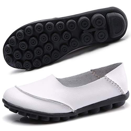 Hishoes Damen Mokassin Bootsschuhe Leder Loafers Fahren Flache Schuhe Halbschuhe Slippers Erbsenschuhe , Weiß, 43 EU
