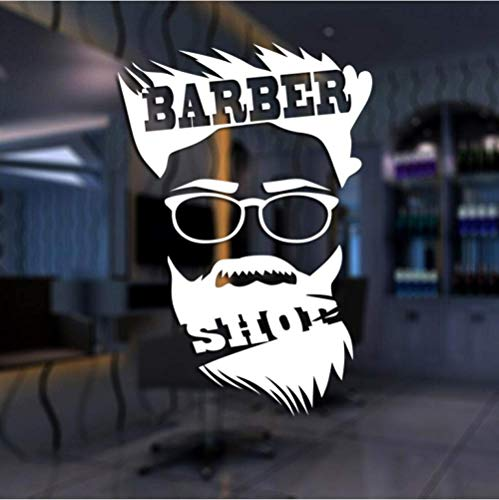 SHUIG Wandaufkleber Mann Friseur Aufkleber Haar hacken Brot Aufkleber Haarschnitt Poster Vinyl Wandkunst Aufkleber Dekor Windows Dekoration Wandbild 58X85Cm