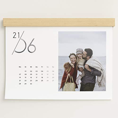 sendmoments Fotokalender 2021 mit dekorativer Holzblende & Veredelung in Silber, Jahreskalender, Wandkalender mit persönlichen Bildern, Kalender für Digitale Fotos, Spiralbindung, DIN A3 Querformat