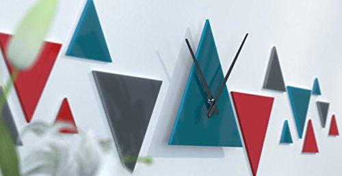 Wanduhr skandinavischer Wohnzimmer dunkelgrau, schwarze und blaue Ente Rouge / Bleu Canard / Gris Foncé