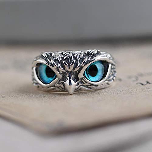 wnhnb Juego de anillos de búho de ojo de demonio a juego, pendientes de oreja, plata de ley 925, el mejor regalo para mujeres y hombres (plata de ley)