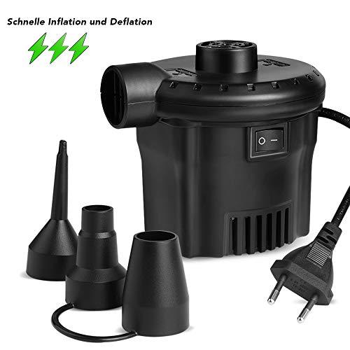 Deeplee Elektrische Luftpumpe Luftpumpe für luftmatratze, 2 in 1 Inflate und Deflate Elektrische Pump mit 3 Luftdüse für aufblasbare Matratze,Sofa,Luftmatratze Pool,Boot,Schwimmring