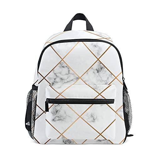 Mochila para niños y niñas, diseño geométrico, textura de mármol, mochila escolar con correa para el pecho y soporte para botellas, mochila para guardería preescolar, ligera