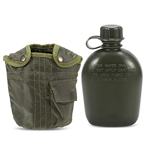 Linpu Aluminium Wasserflasche- Outdoor Sport Militärische Aluminium Wasserflasche mit Armee grün Tuch Abdeckung für Camping Picknick Reisen