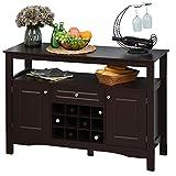 HOMCOM Modern Wooden Kitchen Buffet Bar Cabinet Storage with Drawer and 12-Bottle Wine Rack for Living Room, Espresso