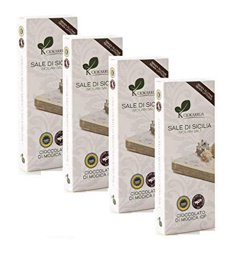 Ciokarrua Cioccolato di Modica al Sale delle Saline di Trapani Senza Glutine e Senza Lattosio - 4 x 100 Grammi