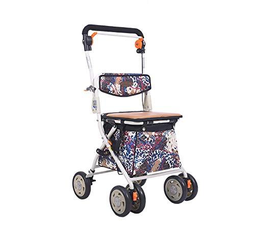 KOSHSH Adult Deluxe Leichtgewicht-Rollator, höhenverstellbare No-Slip-Mobilitätshilfen mit gepolsterten Sitzgeldern leicht zu verstreichen,A