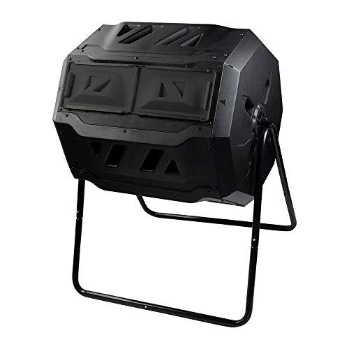 SQUEEZE master Large Compost Tumbler Bin -Outdoor Garden Rotating-Dual Compartment - Better Air Circulation Efficient Compost- BPA Free-Sturdy Steel Frame - 43Gallon (2-21.5Gal)- Black Door