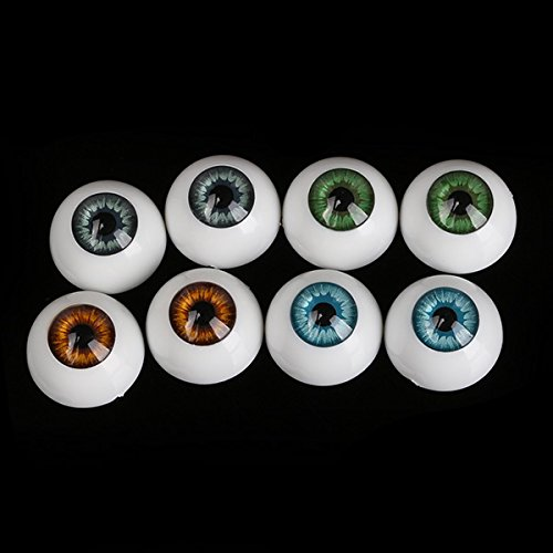 Lot de 8 demi-globes oculaires de rechange pour poupée Reborn Baby Bear 16 mm