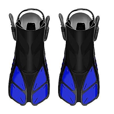 SEATIGER Snorkel Fins, Swim Fins Travel Size Short Adjustable for Snorkeling Diving Adult Men Women Open Heel Swimming Flippers