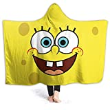 Spongebob Squarepants Hooded Blanket for Couch Travel Warm Flannel Throw Blanket for Home Office Use Multiple Sizes