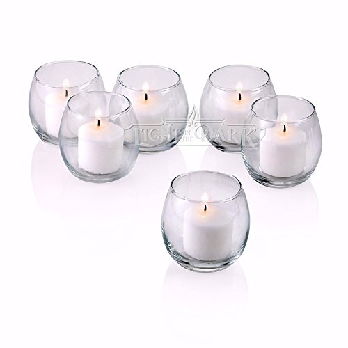 Light In The Dark Clear Glass Hurricane Votive Candle Holders with White Votive Candles Burn 10 Hours Set of 72