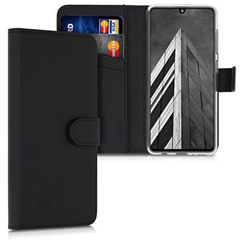 kwmobile Wallet Hülle kompatibel mit Samsung Galaxy A41 - Hülle Kunstleder mit Kartenfächern Stand in Schwarz
