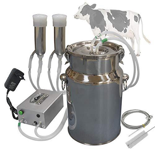 Hantop Ordeñadora para Vacas Ovejas Portatil, Eléctrica de Bomba de Vacío Pulsante, Cubo de leche de acero inoxidable 7L 14L, Con cepillo de limpieza (7L,para Vacas)