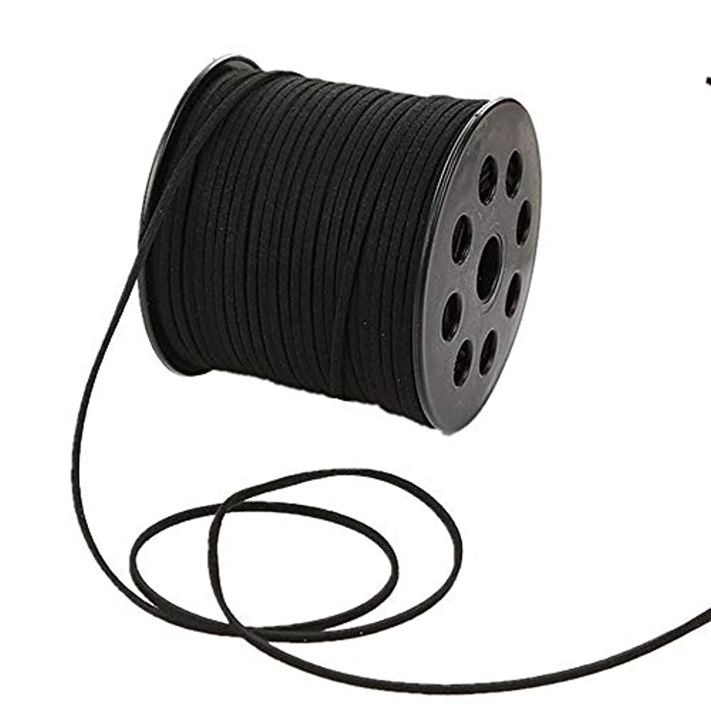 100 Yards Faux Suede Lace String Soft Beading Cord Thread Velvet Ribbons for Bracelet Necklace Jewelry Making Embellishment Trimming (Black)