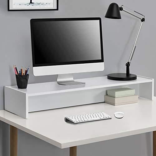 [en.casa] Soporte para Monitor 100 x 27 x 15 cm Base para Pantalla para Mesa de Ordenador Organizador de Escritorio para Monitor o Portátil Blanco