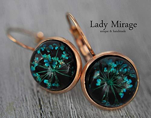 Roségold Ohrringe mit echten Blüten - Schwarz