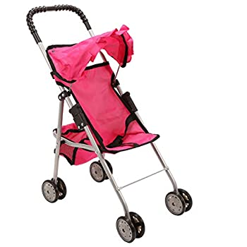 Mommy and Me My First Baby Doll Stroller with Basket Extra Tall 23 Inch Foldable Stroller for Toddlers Hot Pink