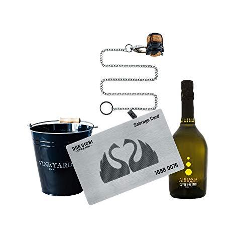 YesEatIs by Due Cigni - Sommelier Kit mit Sabrage Card 1869 - Edelstahlkarte zum Öffnen von Champagner und Sekt + Prosecco Cuvée Prestige Abbazia + Schwarzer Eiskübel