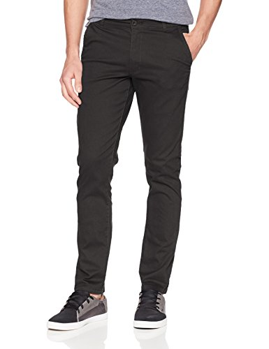 WT02 Men's Long Basic Stretch Skinny Chino Pant, Black/Taping Trim, 34X30