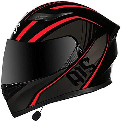 Casco de motocicleta Bluetooth integrado, cascos anti-reflejo de la cara llena de doble visera modular bicicleta de motocross for los hombres y mujeres adultos, la certificación DOT / manos libres / M