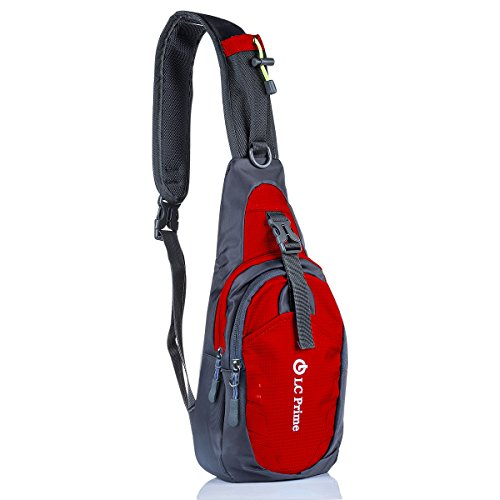 LC Prime Sling Bag Chest Shoulder Unbalance Gym Fanny Backpack Sack Satchel Outdoor Bike Nylon Fabric red 1