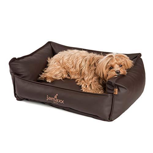 JAMAXX Premium Leder-Sofa Orthopädische Memory Visco Füllung, Hohe Seitenränder, Hunde-Couch mit Kunstleder Bezug, Reißverschluss, Hundebett PDB2019 (S) 70x50 nut, Nuss-braun