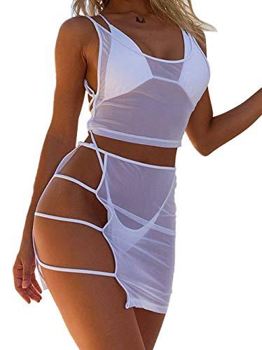 N / A Damen Strandkleid Bikini Cover up 4 Pcs Bikini Set Transparent Kleid Badeanzüge mit Triangle Badehose (Weiß, M)