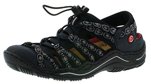 Rieker L0577 Damen Schnürhalbschuhe, Halbschuhe, Schnürer in Trekking Optik blau (Pazifik/Pazifik/schwarz-grau/schwarz / 15), EU 39