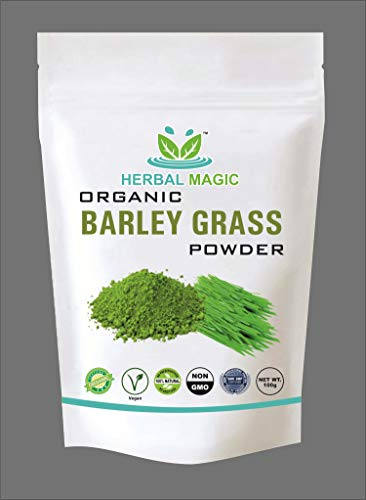 Herbal Magic's Certified Organic Barley Grass Powder Whole Plant Used 100g Immunity Digestion with Vitamin C A Calcium Iron