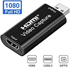 JHMENG HDMI Capture Card, Game Capture Card,1080P 30fps Adapter Live Video Capture Device, Full HD Video/Audio Capture Recorder Box Compatible with PC, Mac OS, Linux (HDMI 2.0)