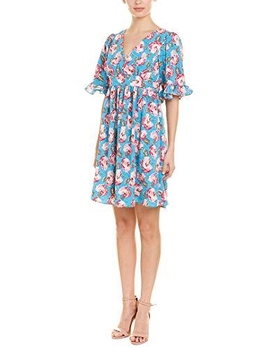Betsey Johnson Women's Boho Bell Sleeve Dress, Island Blue Floral, 8